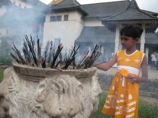 At the temple of the Tooth in Kandy