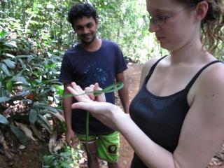 Jen manhandling a snake